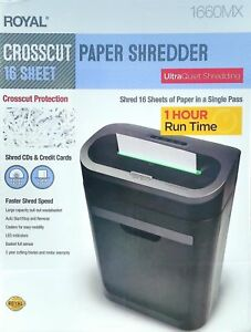 New Royal 16 Sheet Paper Shredder Big 7 4 Gallon Heavy Duty Commercial Crosscut