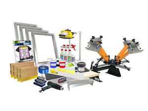 Diy 4 Color Shocker Start up Screen Printing Kit Press Printer Starter 41 4