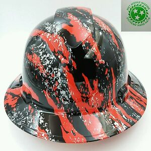 New Custom Pyramex full Brim Hard Hat Hydro Dipped In Red Urban Camo Film