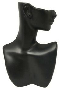 Ds 184 Black Self standing Abstract Jewelry Display Bust With Pierced Ear
