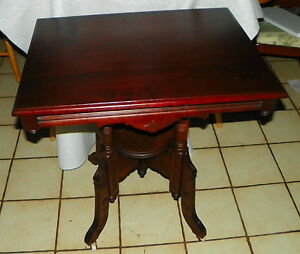 Solid Cherry Eastlake Carved Center Table Parlor Table T572