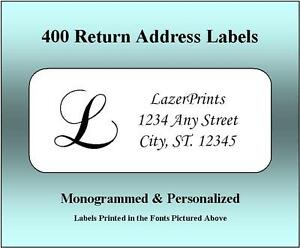 Monogrammed Personalized Return Address Labels 400 Count 1 2 X 1 75 Inch