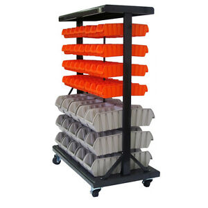 Dual sided Mobile Bin Rack Organizer Storage Garage Home Office Toys Rolling New