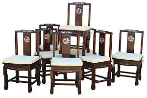Chinese Rosewood And Mother Of Pearl Dining Chairs Set Of 8