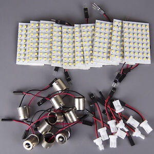 10x High Power 11w White Festoon T10 Ba9s Led 48smd Panel Interior Dome Map