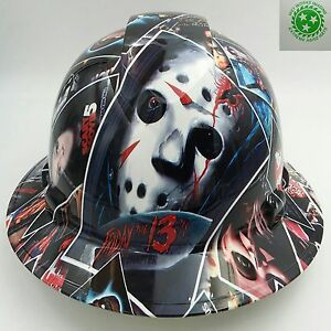 New Custom Pyramex full Brim Hard Hat W ratchet Suspension Horror Show