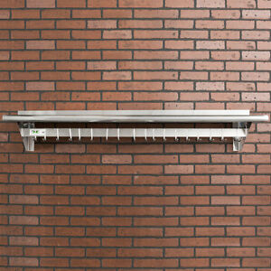 12 X 60 Stainless Steel Wall Mounted Pot Rack With Shelf And 18 Hooks