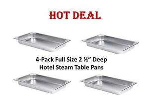 4 pack Full Size 2 1 2 Deep Stainless Steel Hotel Steam Table Pans