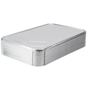 50 pack Full Size Disposable Aluminum Foil Silver Steam Table Pan Lids