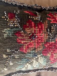 Antique Victorian Beaded Pin Cushion Sewing Needlepoint Needles English