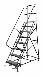 8 Step Ladder Steel Rolling Guardrail Industrial Warehouse Office Schools Sturdy