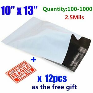 100 1000 10x13 Poly Mailers Shipping Envelopes Self Sealing Plastic Mailing Bags