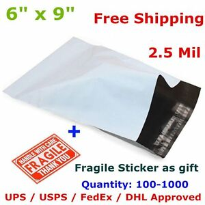 100 1000 6x9 Poly Mailer Shipping Envelope Self Seal Plastic Mailing Bag 2 5 Mil