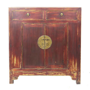 Antique Chinese Asian 2 Door 2 Drawer Brown Lacquer Cabinet 41 W X 43 T