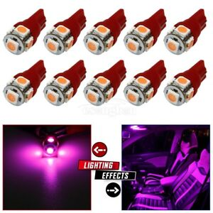 10x Interior Dome Lights Map Lamps Car Bulbs T10 194 168 Pink Purple For Ford