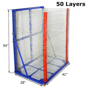 50 Layers Silk Screen Printing Drying Rack Movable Airing Shelf For Shirt Press