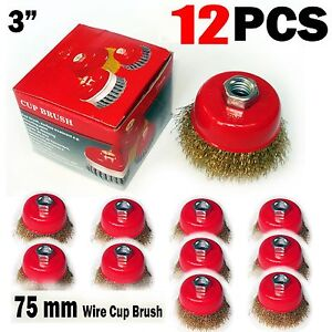 12 Pcs Of 3 X 5 8 Arbor Fine Crimped Wire Cup Wheel Brush For Angle Grinders