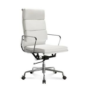 Mid century Design Soft Pad High Back White Genuine Leather Conference Chair
