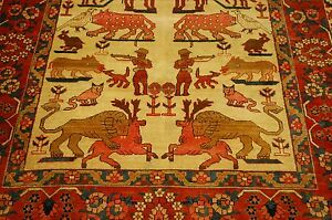 C1920s Antique Highly Detailed Prsian Bijar Rug 3 8x4 10 Animalhuman Subjects