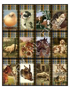 12 Farm Animals On Plaid Country Vintage Hang Tags Scrapbooking Paper Craft 43