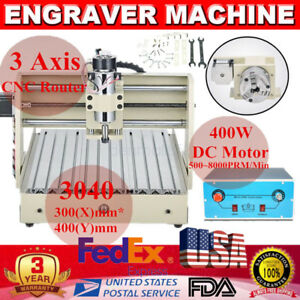 3040 400w 3 Axis Cnc Router Engraver Machine Engraving Milling Laptop Software