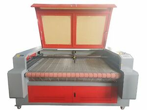 100w 1610 Fabric Laser Cutting Machine auto Roll Feed Conveyor 1600 1000mm