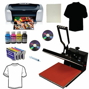 15x15 Heat Press Printer Refill Cartridges Transfer Paper Tshirt Start up Bundle