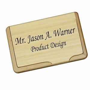 Personalized Wood Bamboo Business Card Holder Custom Office Gift For Men women