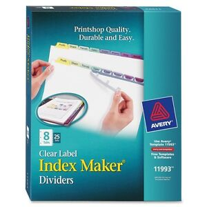 Avery 8 colored Tabs Presentation Divider Ave11993