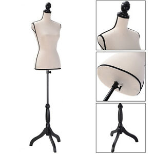 Beige Female Mannequin Torso Clothing Dress Display W Black Tripod Stand New