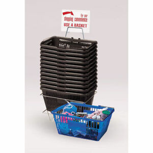 12 Black Plastic Shopping Baskets 18816