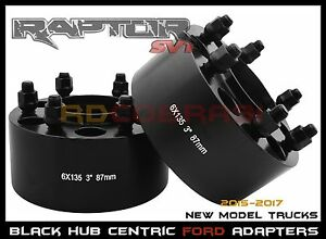 3 Thick 6x135mm Black Hub Centric Wheel Spacers Ford F 150 Raptor Expedition