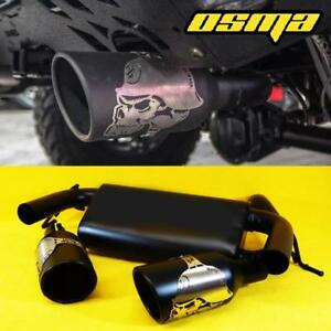 For 2007 2018 Jeep Wrangler Jk Cat Back Stainless Black Dual Exhaust Muffler