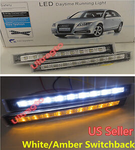Led Daytime Running Drl White Turn Signal Amber Switchback Yellow Fog Light