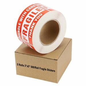 5 Rolls 500 roll Large 3 X 5 Fragile Stickers Handle With Care Shipping Labels