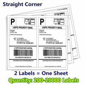 200 20000 8 5x5 5 Shipping Mailing Labels Half Sheet Self Adhesive For Ups Fedex