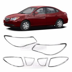 Chrome Head Light Rear Lamp Garnish Molding 6p For 2007 2010 Hyundai Elantra Hd
