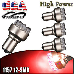 4x Red 1157 Bay15d 12 Smd Led Light Bulbs Tail Brake Stop Back Up 7528 2357 12v