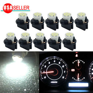 10x White T10 Smd Led Bulb Instrument Panel Cluster Dash Light Twist Lock Socket