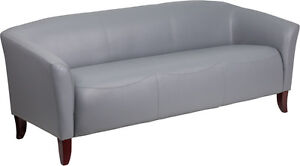 Imperial Series Gray Leather Sofa Reception Guest Lounge Furniture