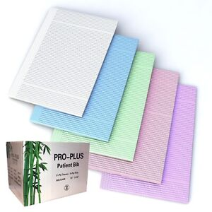 Disposable Dental Blue Bibs 3 ply Tissue 1 poly Backed 13x18 500pc box Blue