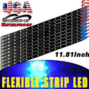 10x Blue 15 Led 30cm Waterproof Car Motor Flexible Decorate Light Strip Bar 12v