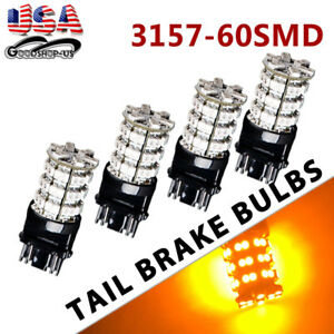 4x Amber Yellow 3157 3156 60smd Led Turn Signal Stop Parking Light Bulbs 4157