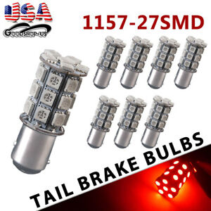 8x Red 1157 Bay15d 27 Smd 5050 Tail Brake Stop Backup Reverse Led Light Bulbs