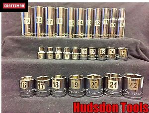 Craftsman 28 Pc 3 8 Laser Etched Metric Socket Set Std And Deep 6pt