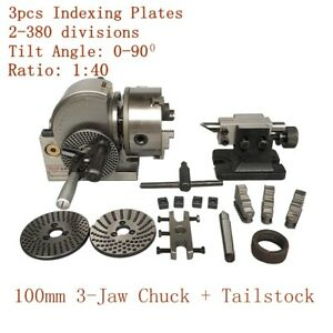 Cnc 4 Semi Universal Indexing Dividing Spiral Head 100mm 3 jaw Chuck Tailstock