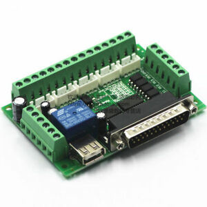 New 5 Axis Cnc Interface Breakout Board 4x Tb6600 Stepper Motor Driver