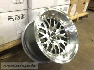 Polish Lm20 Style 15x8 0 Wheels Rims Big Lip Deep Dish Aggressive Fitment 4x100