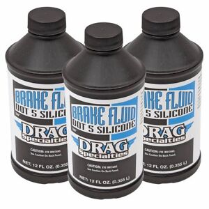 Dot 5 Silicone Brake Fluid 12oz 3 Pack From Drag Specialties
