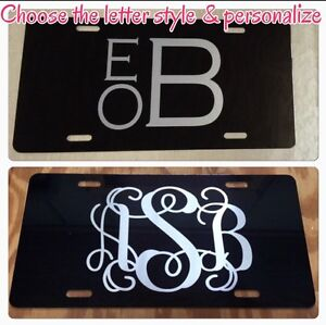 Monogram Initials Black License Plate New Car Tag Personalized